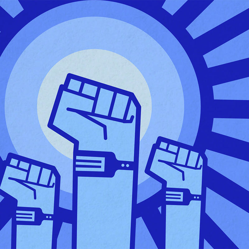 Graphic illustration, in a Soviet Poster art style, showing revolutionary arms raised, all wearing fitness trackers.
