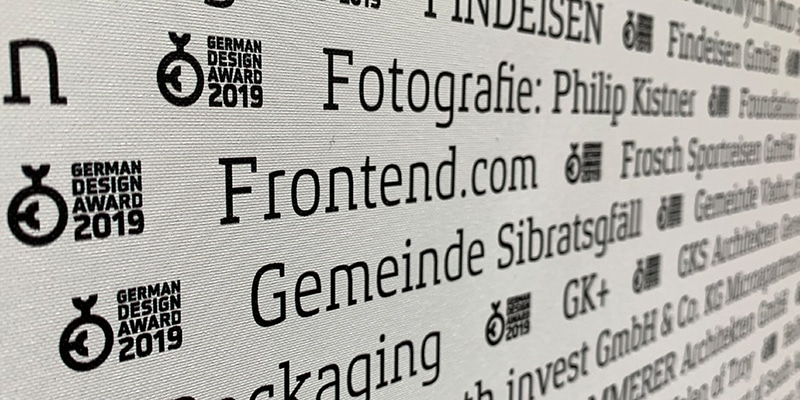 The Frontend.com name displayed among other winners of the 2019 German Design Awards.
