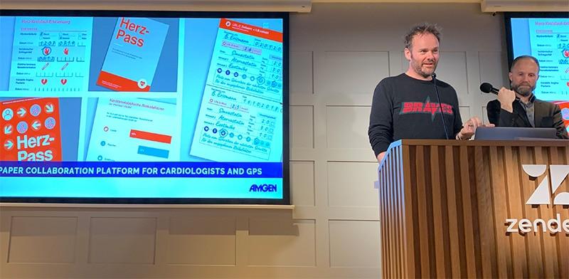 Frank Long and Henry Poskitt of Frontend.com speaking on Digital Healthcare Revolution at Dublin UX in December 2019.