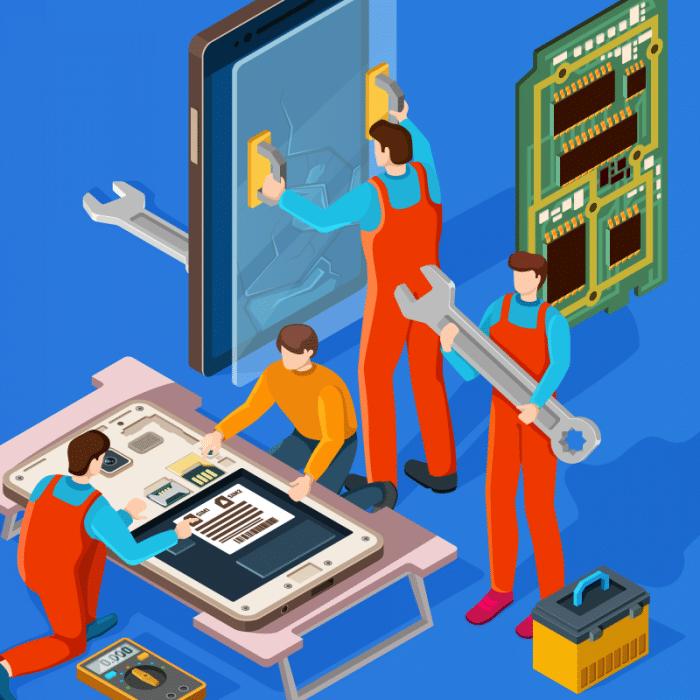 Hero illustration of characters repairing a mobile phone