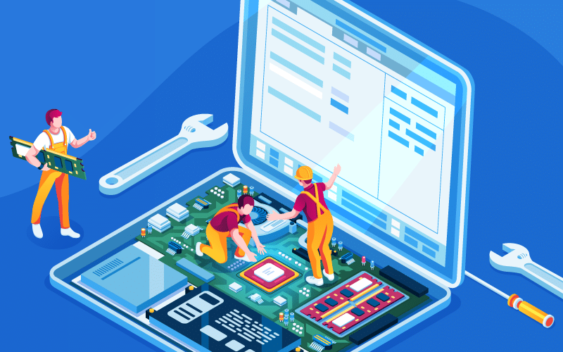 Illustration of characters repairing a laptop