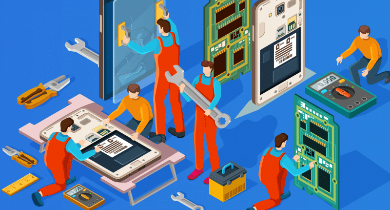 Illustration of characters repairing a mobile phone