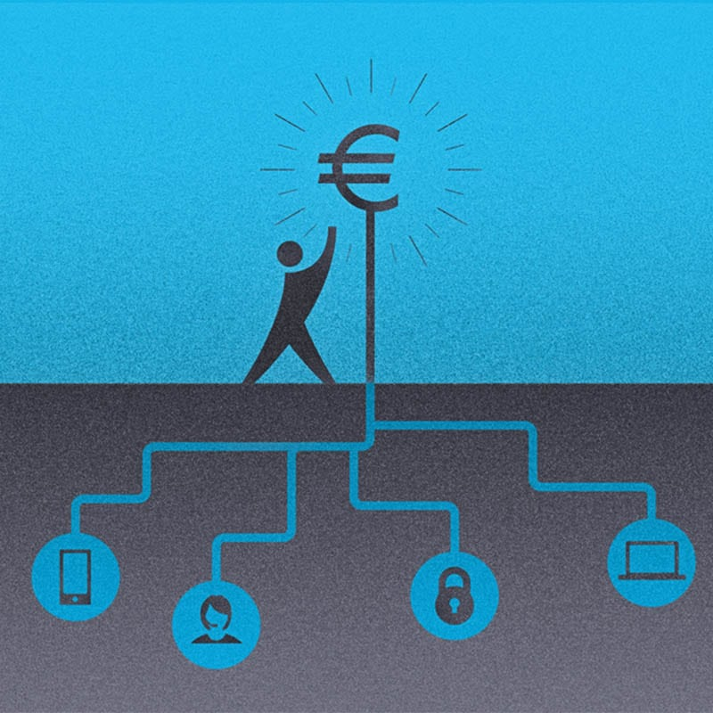 Graphic illustration representing interconnected banking services.