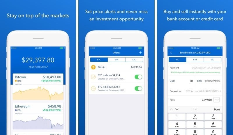 Three example screens from the Coinbase app