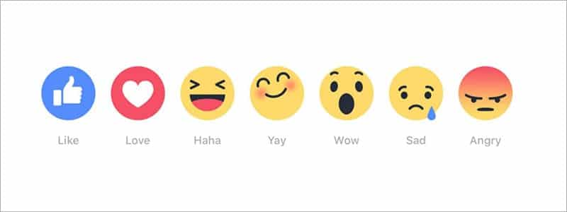 Facebook's seven new react button icons 2015.