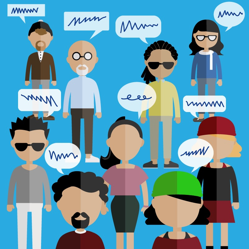 Graphic illustration of a diverse range of attendees of a focus group