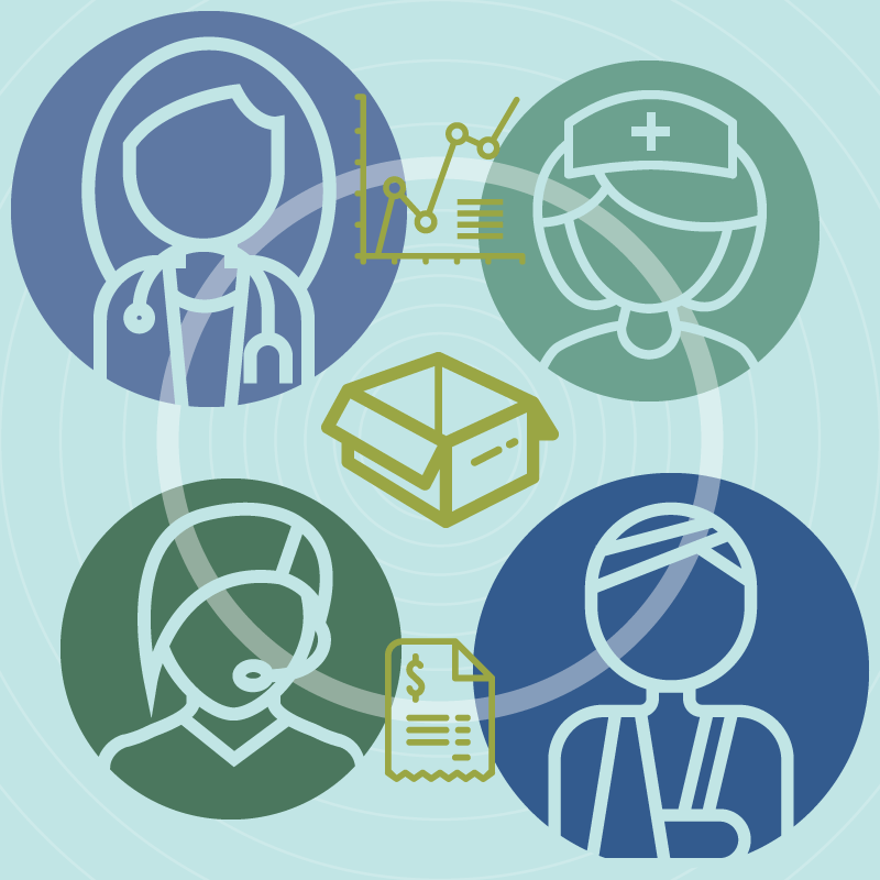 Graphic illustration of a doctor, nurse, patient and call centre operator connected by human factors.