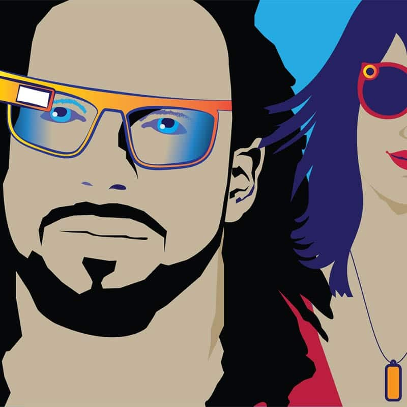 Graphic illustration of man and woman wearing connected devices.