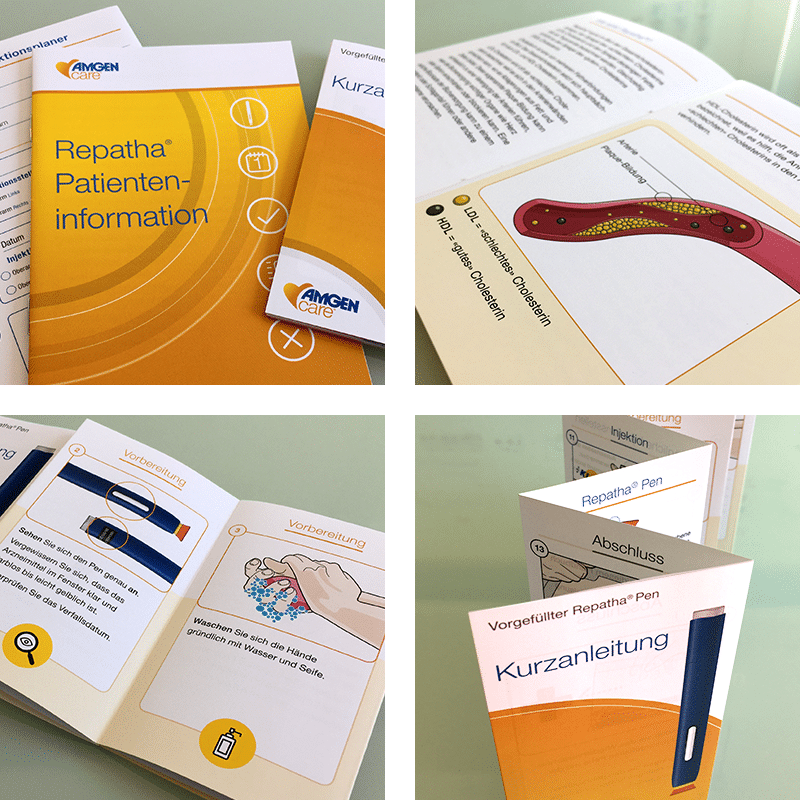 Four images of printed leaflets.