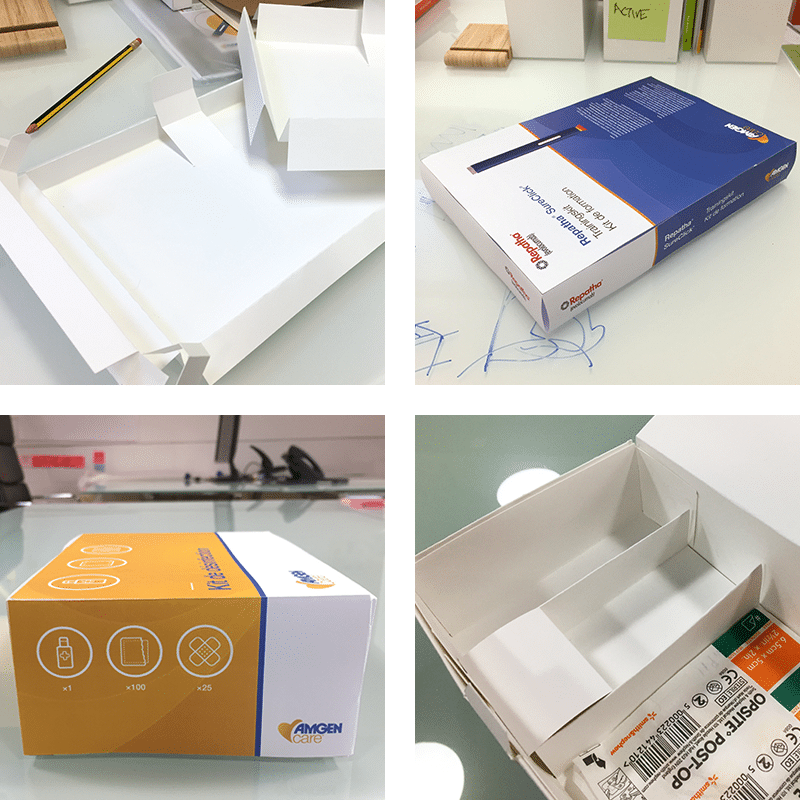 Four images of hand-made packaging mockups.
