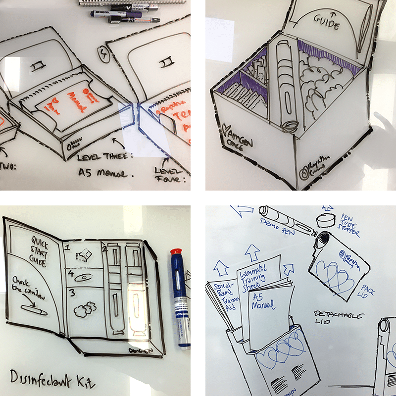 Four images of hand drawn packaging design sketches.