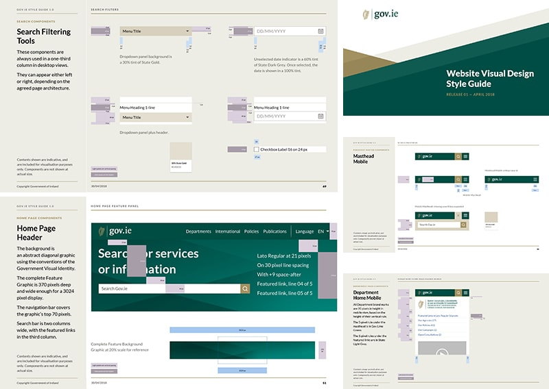 Selection of pages from the Gov.ie Website Visual Design Guide