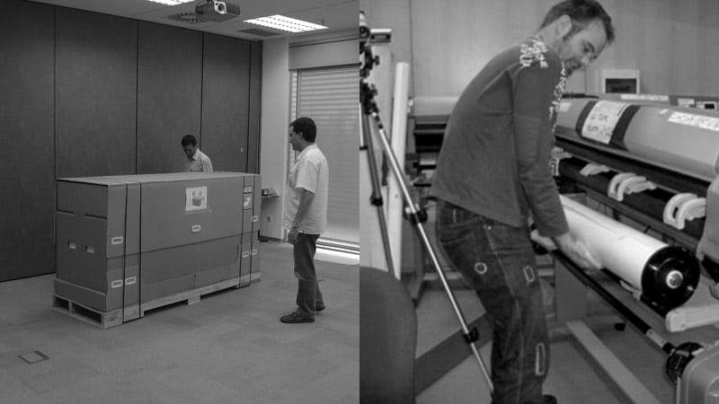 Montage of two men with a large packing crate, and a man loading a paper roll into a printer.