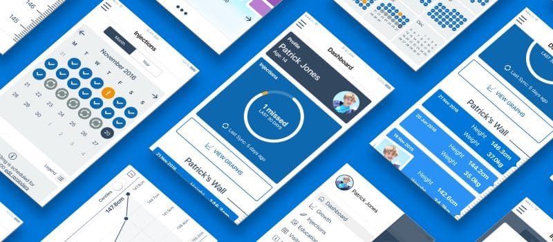 A selection of Growlink app user interface mobile screens/