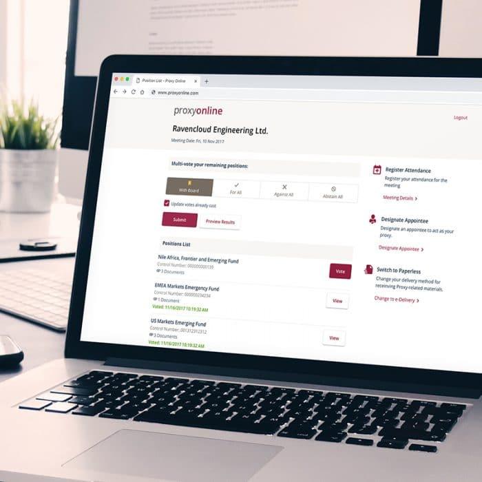 NuArca proxy voting application on a laptop screen