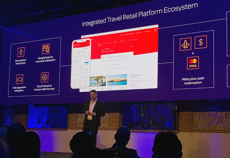 Brian Porter, CCO of OpenJaw Technologies showcasing some of our UI work at their Global Travel Summit in Madrid in October 2018.