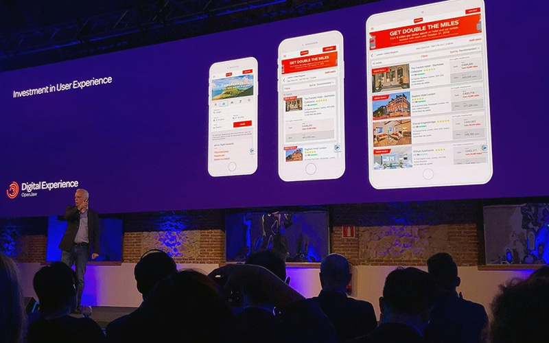 Brian Lewis CTO of OpenJaw Technologies showcasing some of our UI work at their Global Travel Summit in Madrid in October 2018.