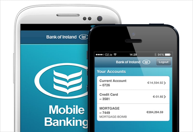 Bank of Ireland mobile banking application interface on a generic Android phone and on an iPhone.